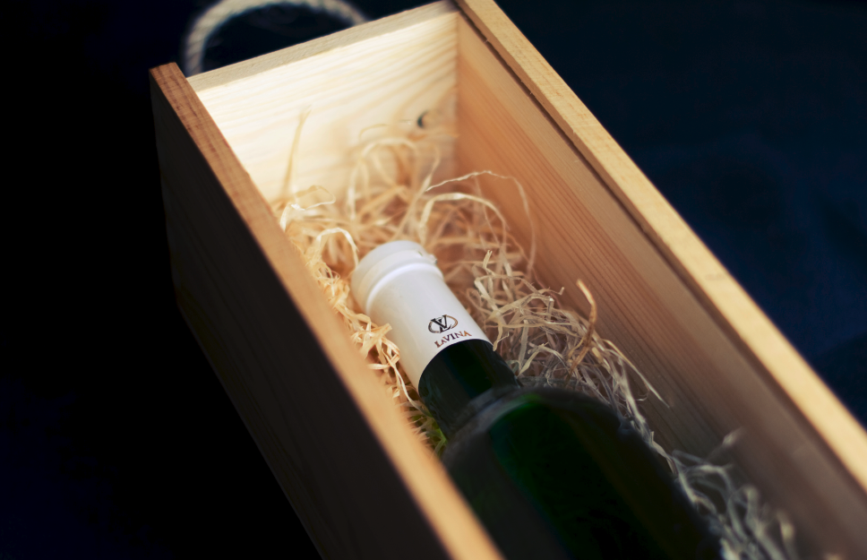 Bottle of wine in a gift box