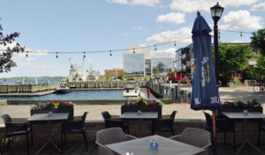 Patio with water view at Sea Smoke