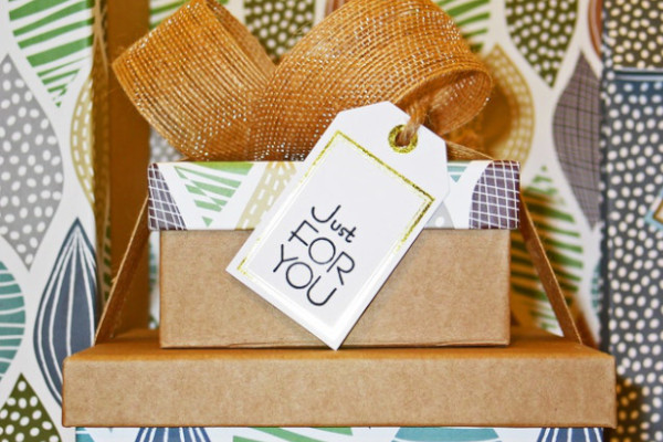 wrapped present with gift tag